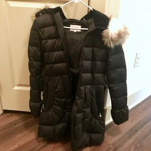 Laundry black quilted belted puff coat small